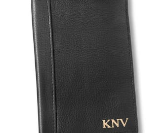 Personalized Black Borello Leather Passport Travel Wallet  - Personalized Passport leather Holder- Passport holder - Gifts for Him- GC1630