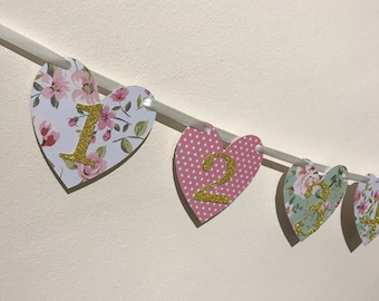 Vintage Inspired 12 Month First Birthday Banner Tea Party Bunting, Cake Smash Decor