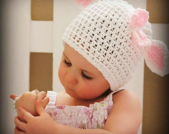Crochet Lamb Hat, Newborn Lamb Hat, Baby Girl Hat, Toddler Hat/MARY'S LITTLE LAMB Baby Hat with a Bow (Ready to Ship)