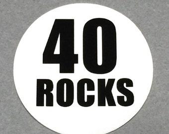 40th Birthday Stickers - Round 1 1/2 Inch Handmade Stickers, 40 ROCKS, Set of 12