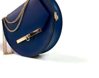 Loel mini military bee chain bag clutch in dark blue