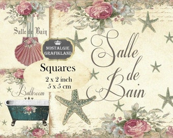 Bathroom Salle de Bain Bath Bathtube Shabby Chic Squares 2x2 inch squares Instant Download digital collage sheet TW104