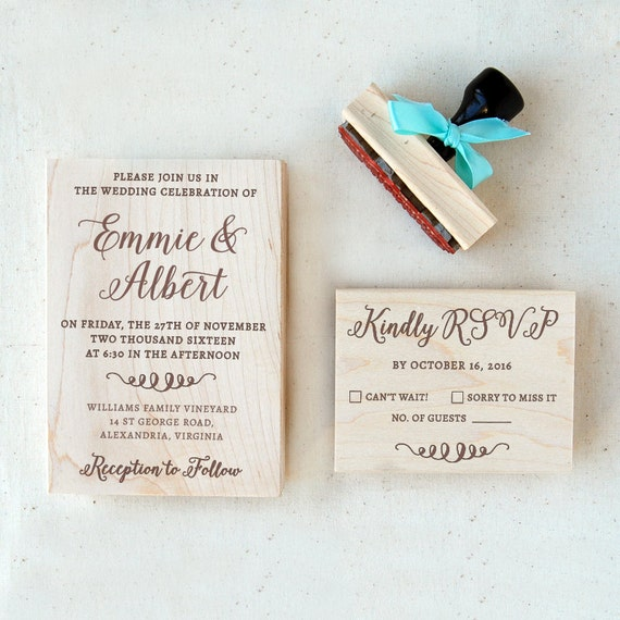 Wedding Invitation Stamp Suite 2 Calligraphy Personalized
