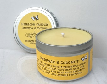 Beeswax & Coconut Candle 8oz Tin - Air Purifier - Pure Beeswax candle