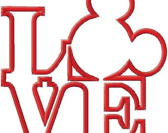Love Mouse Head Applique Embroidery Design