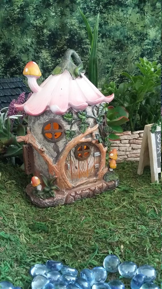 Fairy Garden Flower Roof House, Resin Fairy Garden House Lights Up ...