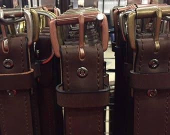 "Chocolate brown Buffalo hide casual belt 1.5"" wide"