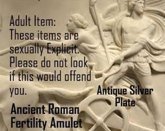 Bawdy Romans, Ancient Roman Fertility Phallic Amulet Pendant 100-300AD, Silver Plate