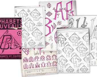 Vintage French Monogram Pattern Book.  Alphabet Embroidery Patterns  20 Pages of Monograms. (5106)