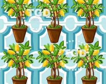 Lemon Tree digital paper, watercolor digital paper, fruit print, commercial use, instant download