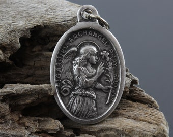 Saint Gabriel Archangel Medal - Patron of Childbirth and Postal Workers - St. Gabriel Silver Oxidized 1 inch Die Cast Metal Made in Italy