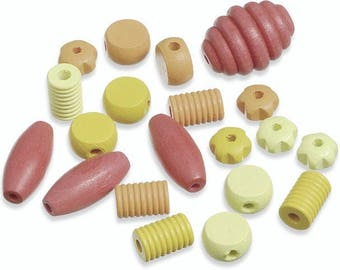 set of 20 wooden beads of sizes and various shapes