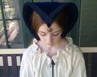 French Hood: Elizabethan Headdress Coif French Hood with Attifet Tudor Costume Elizabethan Costume Head Piece