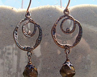 Copper Loops & Cocoa Glass Earrings