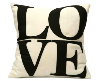 Chocolate LOVE Pillow Cover Appliquéd in Cocoa Brown and Antique White Eco-Felt 18 inches
