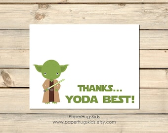 Yoda Stationery, Yoda Note Cards, Personalized Note Cards, Kids Thank You Cards, Star Wars, Kids Note Cards, Yoda Best/ Set of 10