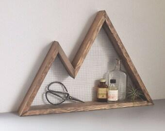 Mountain Wall Art, Shelf, Mountain Home Decor, wall hanging, wall shelf, reclaimed wood, statement piece, modern, industrial, rustic,