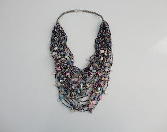 VINTAGE glass and shell multi strand BEADED NECKLACE
