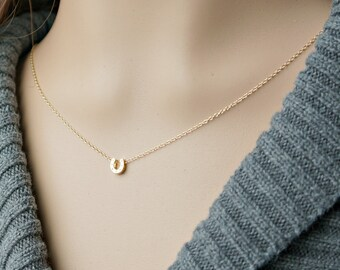 Gold horseshoe necklace tiny horseshoe pendant on a gold gold horseshoe necklace tiny horseshoe pendant on a gold chain good luck aloadofball Image collections
