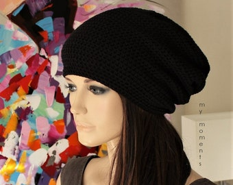 Crochet  Cap Cotton black hat