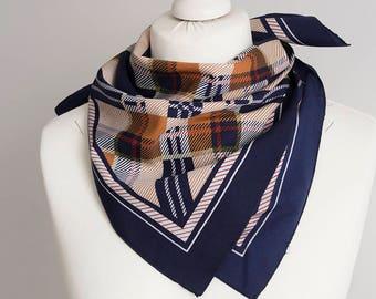 "vintage Square scarf, polyester scarf, fabric women scarf shawl 65cm / 25"" geometric scarf plaid scarf navy blue copper orange"