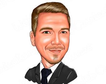 Custom Cartoon Portrait/ Business Cartoon Portrait, Personalized Caricature, Blog Avatar portrait