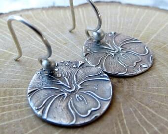 Flower Earrings Tiny Earrings Disc Earrings  PMC Earrings Rustic Jewelry Gifts for Her Eco Friendly Jewelry Ready to Ship