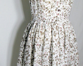 Vintage  Dress circa 1950s  Sleeveless dress floral dress, Rooster, Shirtwaist dress 50s medium, Georgia Griffin Fashions