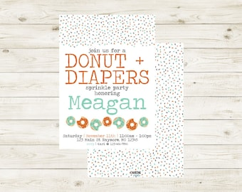 DONUTS+DIAPERS | Donuts & Diapers Baby Shower Invitation | Donuts + Diapers Sprinkle Shower Invitation | Donuts + Diapers Baby Shower Invite