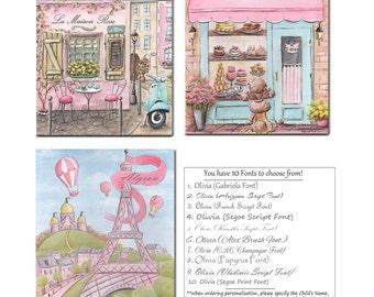 Baby Girl Room Custom Name Art Prints, Set Of 3 For Nursery Wall Art, Personalized Girls Nursery Decor, Pink Girls Bedroom Artwork, 6 Sizes