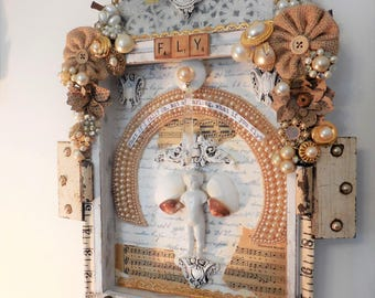 ALTERED ART, Shadow Box Found Object Mixed Media Original, Niche, Free Spirit, Soulful Gift, Bohemian Art, Kitschy Art, Memory Box, Funky