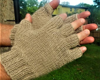 Half Finger Gloves Men's Tan Pure Baby Alpaca Half Finger Gloves Hand Knit Light Brown Alpaca Hand Warmers Baby Alpaca Half Finger Gloves