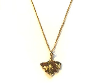 Large gold plated ginkgo pendant necklace | gold necklace | ginkgo necklace | short necklace