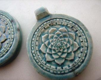 4 Lotus raku beads - pendants