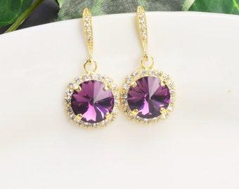 Purple Earrings - Swarovski Crystal Earrings - Amethyst Earrings Gold - Wedding Jewelry - Bridesmaid Earrings - Crystal Drop Earrings