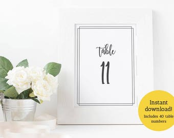 Modern Wedding Table Numbers 1–40 plus Reserved and Head Table Signs, INSTANT DOWNLOAD - DIY Printable Table Numbers: Two Sizes 5x7 and 4x6