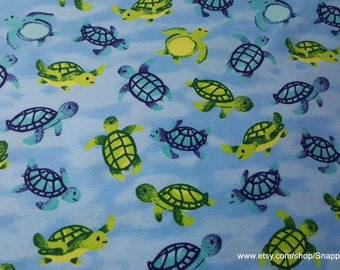 Flannel Fabric - Swimming Turtles - By the yard - 100% Cotton Flannel