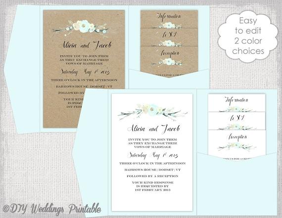Pocket Folder Wedding Invitation Kits: Pocket Wedding Invitation Template DIY Pocketfold Wedding