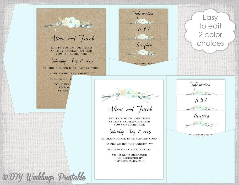 Pocket Wedding Invites: Pocket Wedding Invitation Template DIY Pocketfold Wedding