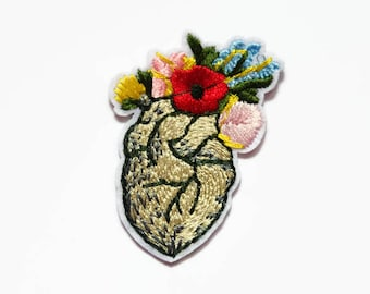 Flower Patch - Heart Patches - Embroidered Applique Flower Patches - Flowers - Unusual Patch - Small Patch - Plant Patches - UK Patch Seller