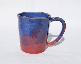 handmade pottery sunset mug (8 oz) - pottery mug, ceramic coffee cup