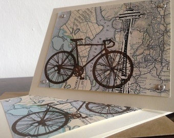 50-Pack Seattle Bike and Map - Gocco Screen-Printed Greeting Cards