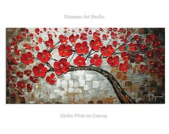 Red Diamond Abstract Art Giclee Print on canvas Interior Decor by Nizamas ready to hang