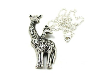 Mom and Baby Giraffe Necklace, Giraffe Charm, Giraffe Jewelry, Giraffe Pendant, Animal Charm Jewlery, Silver Giraffe Jewelry, Jewelry Gift