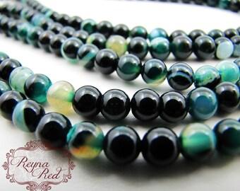 Emerald Stripe Dyed Agate Smooth Round Beads, agate beads, round beads, dyed agate, green gemstone beads, gemstone beads- reynaredsupplies
