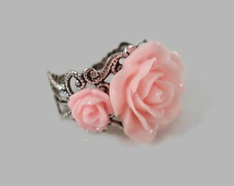 Rose Ring Victorian Pink Adjustable Ring Silver Filigree Rose Jewelry Flower Ring