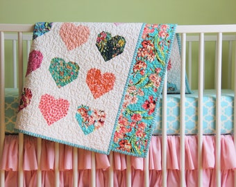 Heart Quilt Baby Girl Bedding, Toddler Girl Bedding, Floral Quilt, Crib Bedding Set