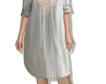 Women's vintage long chemise, medium size (44) pattern, PDF file A4 pages
