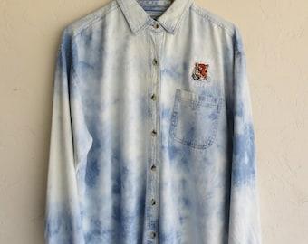 "Hazed Tie Dyed ""Tiger"" Denim Shirt"