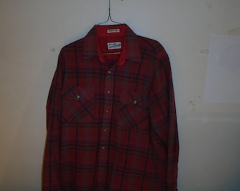 Vintage Sears Roebuck Co. Red Wool Blend Flannel Size Large